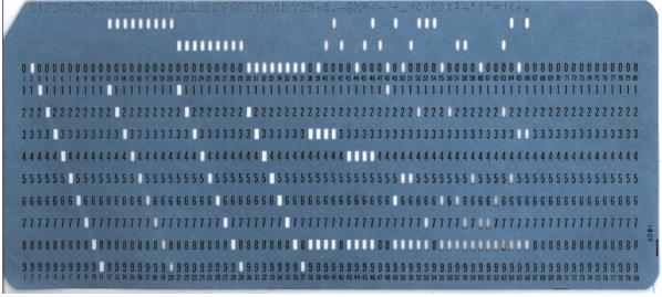 Blue punch card front horiz